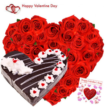 Heart Roses & Cake - 50 Red Roses Heart Shape + Black Forest Heart Cake 1 kg + Card