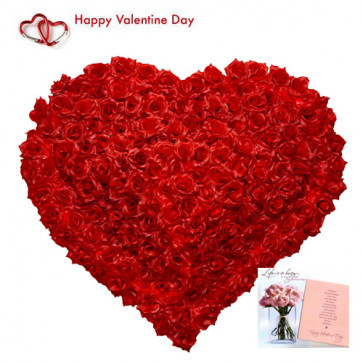 Red Roses Heart - 100 Red Roses Heart Shape Arrangement + Card