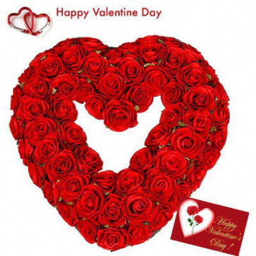 Valentine Heart - 50 Red Roses Heart Shape Arrangement + Card