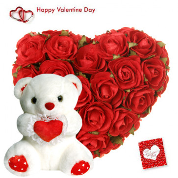 """Heartly Arrangement - 25 Red Roses Heart Shape + Teddy with Heart 8"""" + Card"""