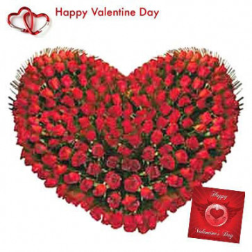 Heart with Love - 150 Red Roses Heart Shape Arrangement + Card