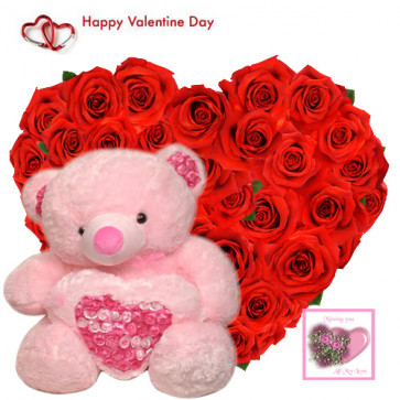 "Valentine Love Heart - 40 Red Roses Heart Shape + Teddy with Heart 6"" + Card"