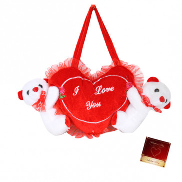 """I Love You Heart with Teddies - 6"""" X 12"""" (Approx )"""