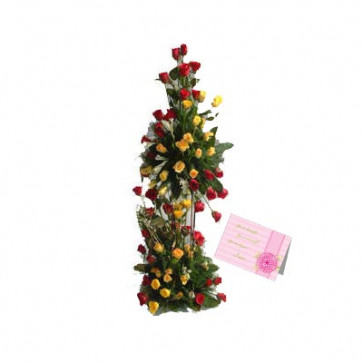 Endless Love - 100 Yellow & Red Roses Arrangement of 3 to 4 feet + Card