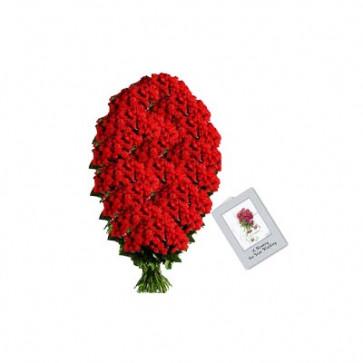 Special Arrangement - 100 Red Roses Arrangement in 4 feet + Card