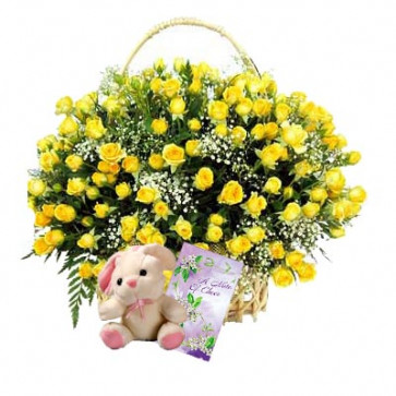 "For Someone Special - 100 Yellow Roses Basket + Teddy 6"" + Card"