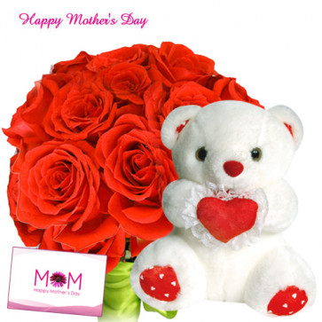 """Love Gift - 12 Red Roses, Heart Soft Toy 8"""" and Card"""