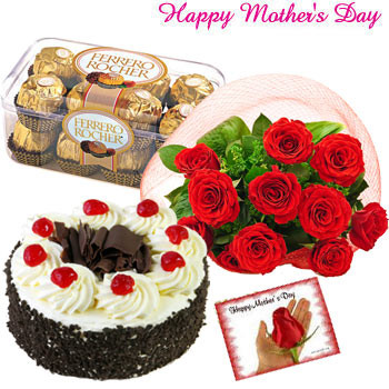 Love You Mom - Bunch of 12 Red Roses, Ferrero Rocher 16 pcs, 1/2 Kg delicious Cake and Card