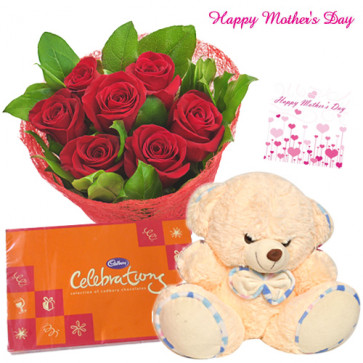 "Loving Mother - Bunch of 12 Red Roses, Cadbury Celebration 162 gms, Teddy Bear 6"" and Card"