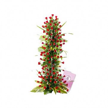 Special Moments - 150 Red Roses Arrangement of 4 feet + Card