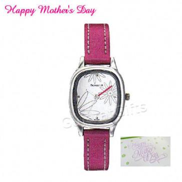 Sonata Watch White Dial Pink Strap