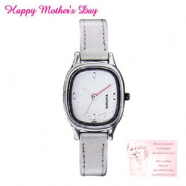 Sonata Watch White Dial Gray Strap