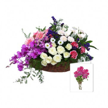 Mixed Flowers Basket - 12 Roses, 12 Mix Carnations & 2 Orchids Basket + Card