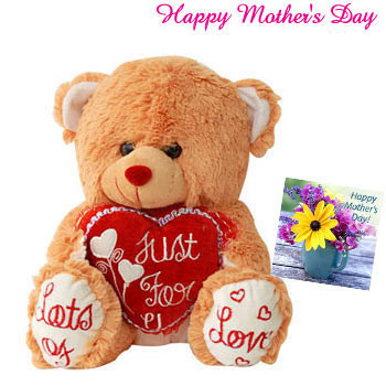 """Golden Heart - Cute Brown Teddy with Heart 8"""" and Card"""