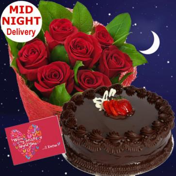 Roses N Cake - 12 Red Roses Bunch + 1/2kg Cake + Card