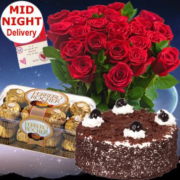 Miss You - 12 Red Roses + Ferrero Rocher 16 pcs + 1/2kg Cake + Card