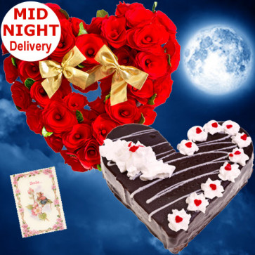 Warm Wishes - 50 Red Roses Heart Shaped Arrangement, 1 Kg Black Forest Cake Heart Shape + Card