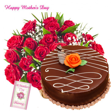 Red Roses for You - 100 Red Roses in Basket, 1/2 Kg Chocolate Cake and Card