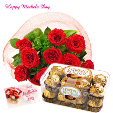 Mummy's Love - Bunch of 12 Red Roses, Ferreo Rocher 16 pcs and Card