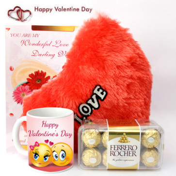 Crunchy Heart - Heart Pillow, Happy Valentines Day Mug, Ferrero Rocher 16 Pcs and Card