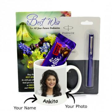 Joy of Luck - Personalized Mug, Parkar Beta Standard Pen, Dairy Milk Fruit & Nut and Card