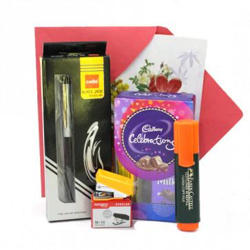 Winning Combo - Mini Cadbury Celebration, Cello Pen, Highlighter, Stapler and Card