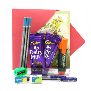 Victory Assured - 3 Premium Wooden Pencils, 2 Cello Pen, Sharpener, Eraser, Scale, Highlighter, 2 Dairy Milk and Card