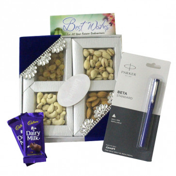 Healthy Luck - Assorted Dryfruits, Parkar Beta Standard Pen, 2 Dairy Milk and Card