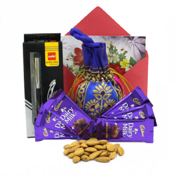 Best of Luck - 6 Dairy Milk, Almond in Potli (D), Cello Pen and Card