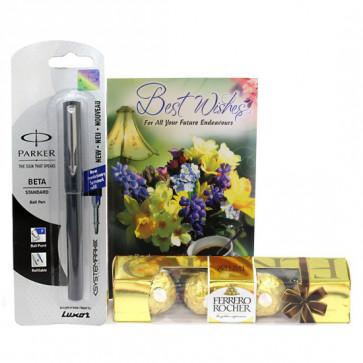 Practical Luck - Parkar Beta Standard Ball Pen, Ferrero Rocher 4 Pcs and Card