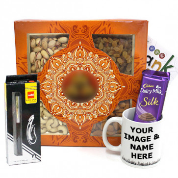 Superb Greetings - Cello Pen, Assorted Dryfruits, Personalized Mug and Card