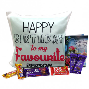 Choco Cushiony - Happy Birthday Cushion, Dairy Milk Fruit n Nut, 2 Dairy Milk, 2 Five Star, 2 Kitkat and Card
