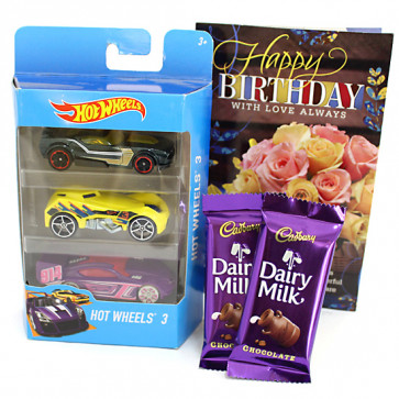 Racer Hamper - Hotwheels Set of 3 Cars, 2 Dairy Milk and Card