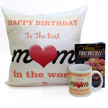 Best Mom - Happy Birthday Cushion, Happy Birthday Mug and Card