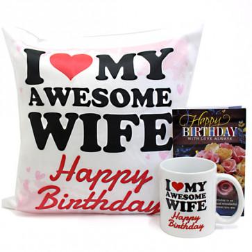 Birthday Touch - Happy Birthday Cushion, Happy Birthday Mug and Card
