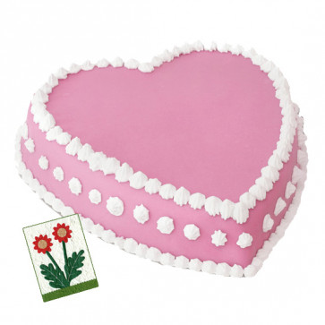 2 Kg Strawberry Heart Shaped Cake & Card