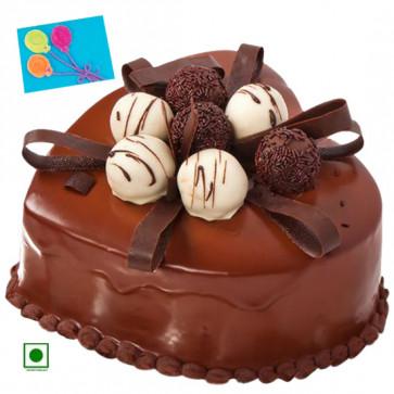 1.5 Kg Chocolate Cake Heart Shaped (Eggless) & Card