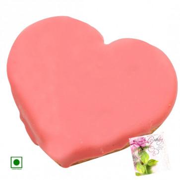 Strawberry Heart Shaped Cake 1.5 Kg (Eggless) & Card
