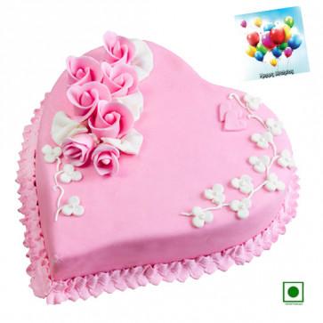 Strawberry Heart Shaped Cake 2 Kg (Eggless) & Card