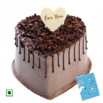 2 Kg Chocolate Cake Heart Shapped (Eggless) & Card