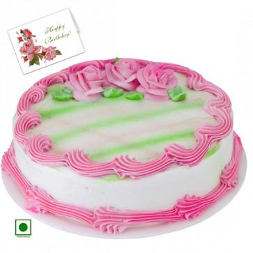 1.5 Kg Strawberry Cake (Eggless) & Card