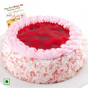 2 Kg Strawberry Cake (Eggless) & Card