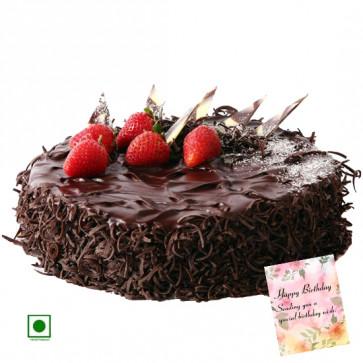 1.5 Kg Chocolate Cake (Eggless) & Card