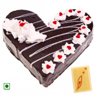 1 Kg Black Forest Cake Heart Shaped (Eggless) & Card