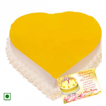 1 Kg Pineapple Cake Heart Shaped (Eggless) & Card