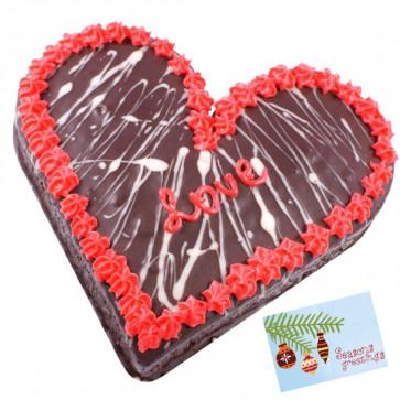 Chocolate Heart Shaped Cake 2 kg & Card