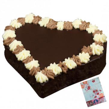 1.5 Kg Chocolate Cake Heart Shaped & Card