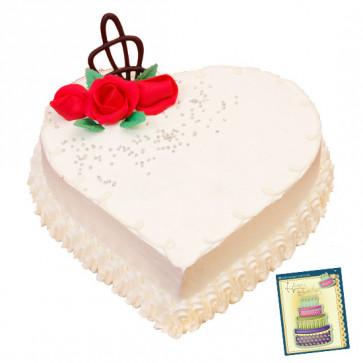 1.5 Kg Vanilla Heart Shaped Cake & Card
