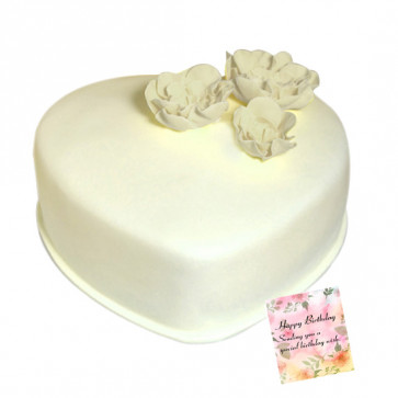 1 Kg White Forest Cake Heart Shaped (Eggless) & Card