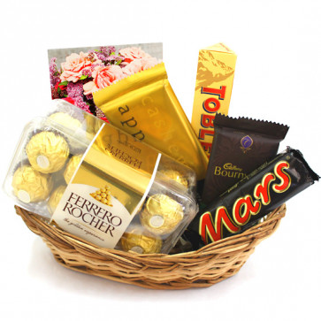 Grand Chocolates - Ferrero Rocher 16 Pcs, Temptations, Bournville, Toblerone, Mars and Card